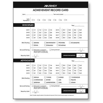 Journey Achievement Record Card