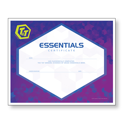 NEW! T&T Mission: Evidence of Grace Essentials Certificate